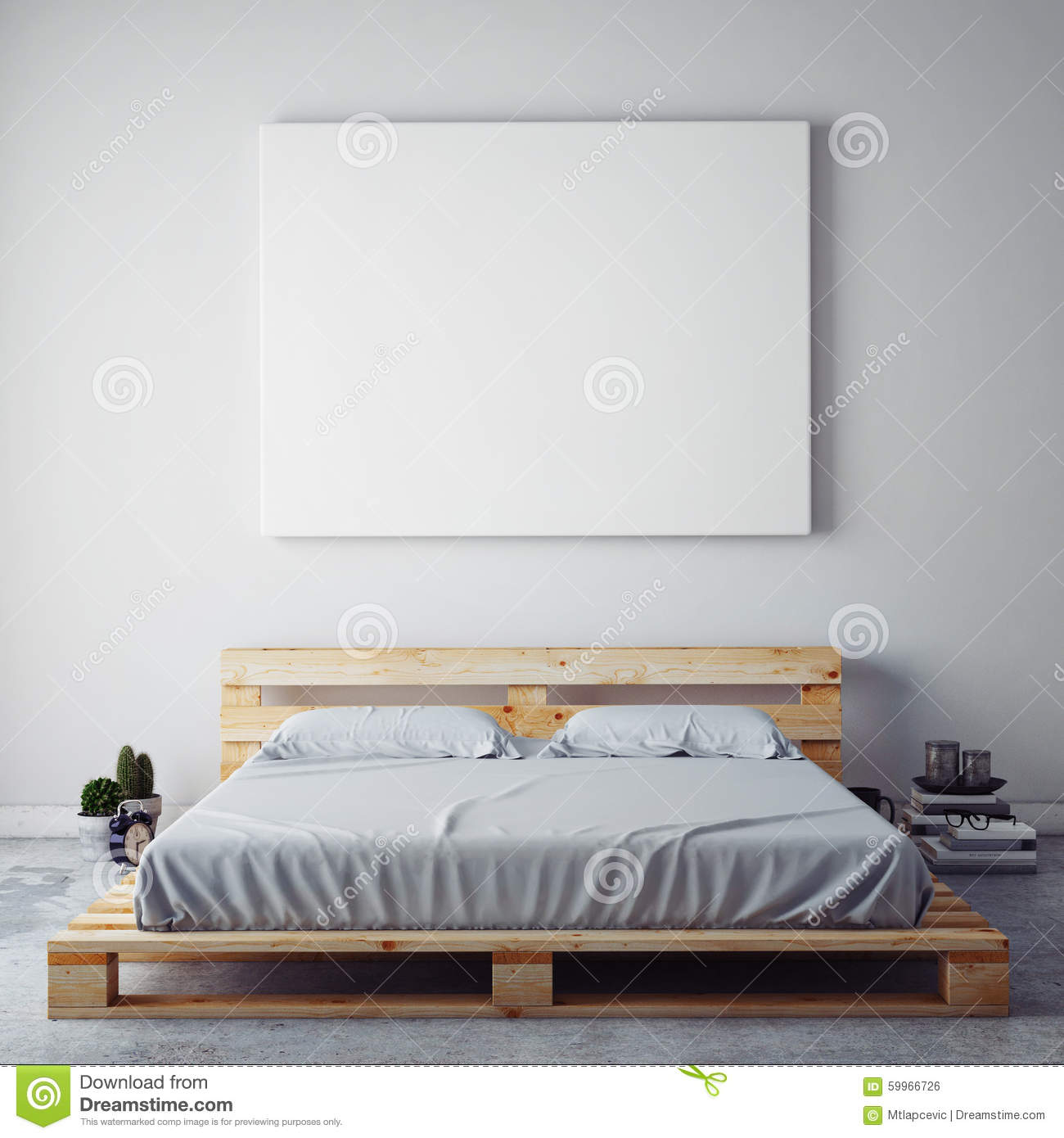 Mock Up Blank Poster On The Wall Of Bedroom Stock