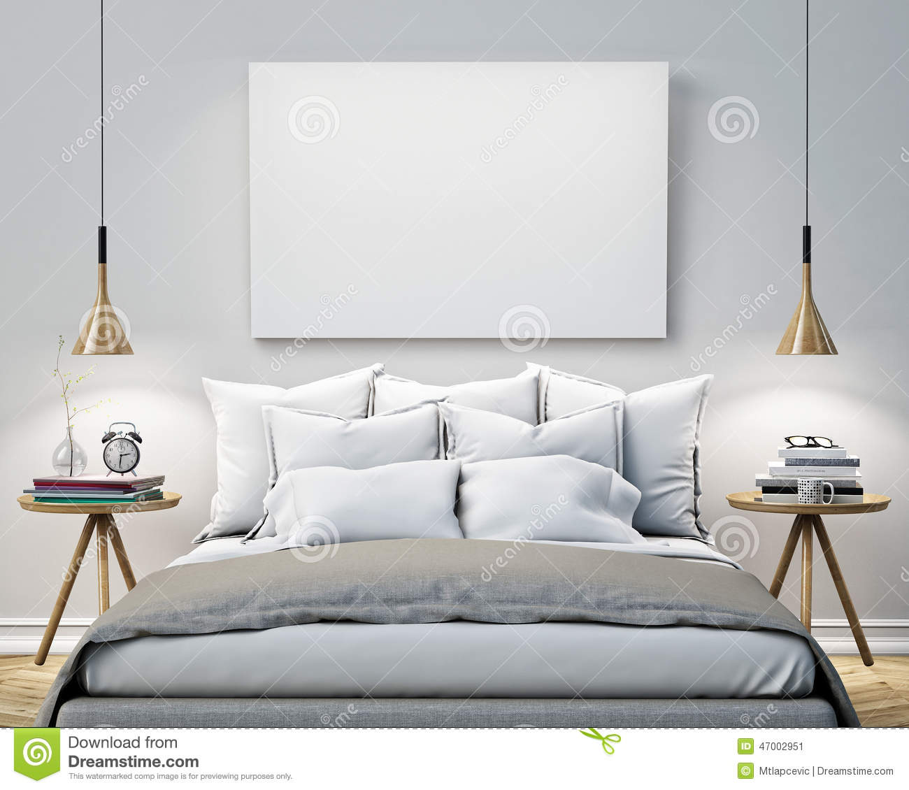Room Design Template | Mock Up Blank Poster On The Wall Of Bedroom 3d Illustration