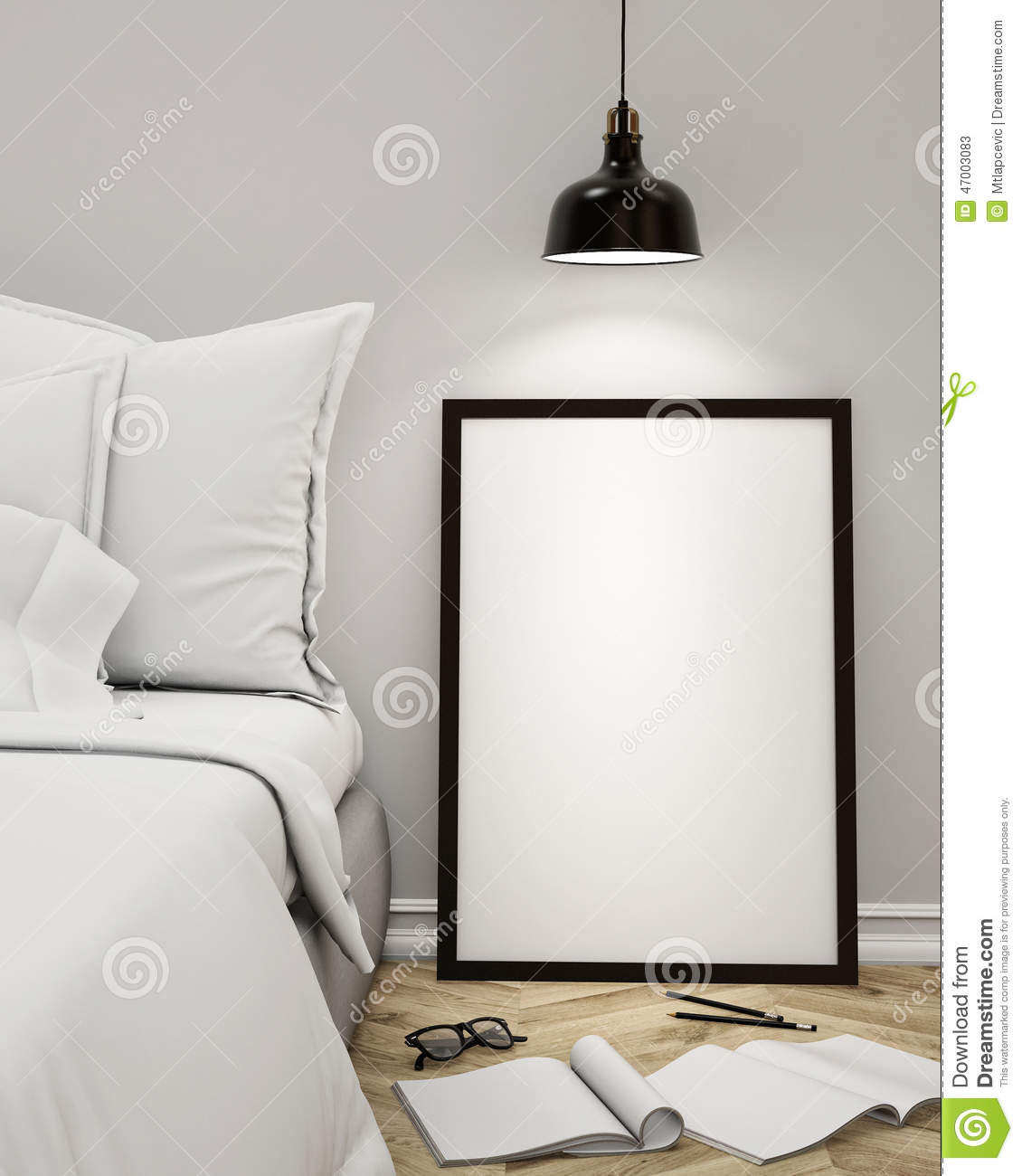 Mock up blank poster on the wall of bedroom 3d for Bedroom design template