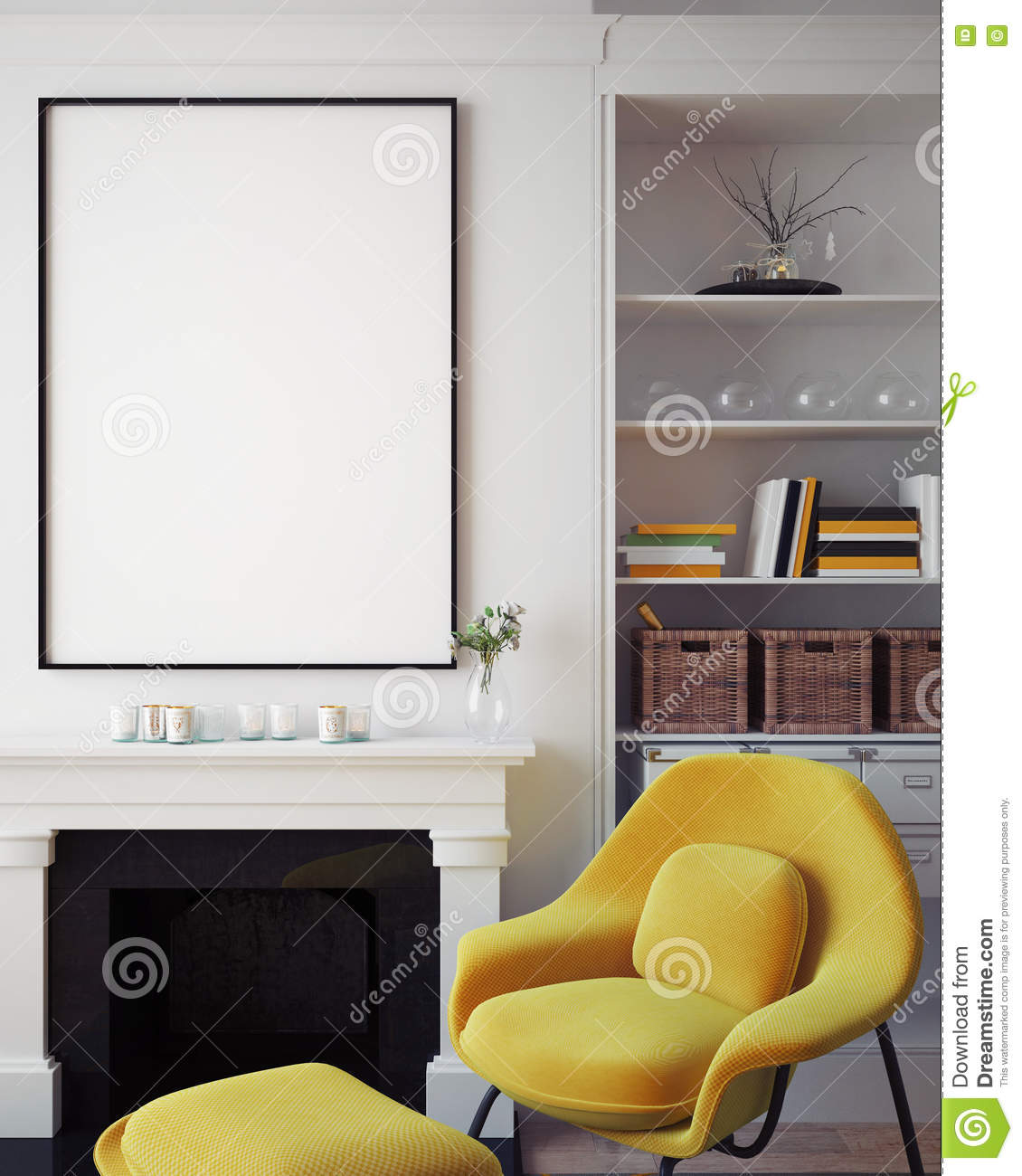 Mock up blank poster on the wall of hipster living room, 3D rendering