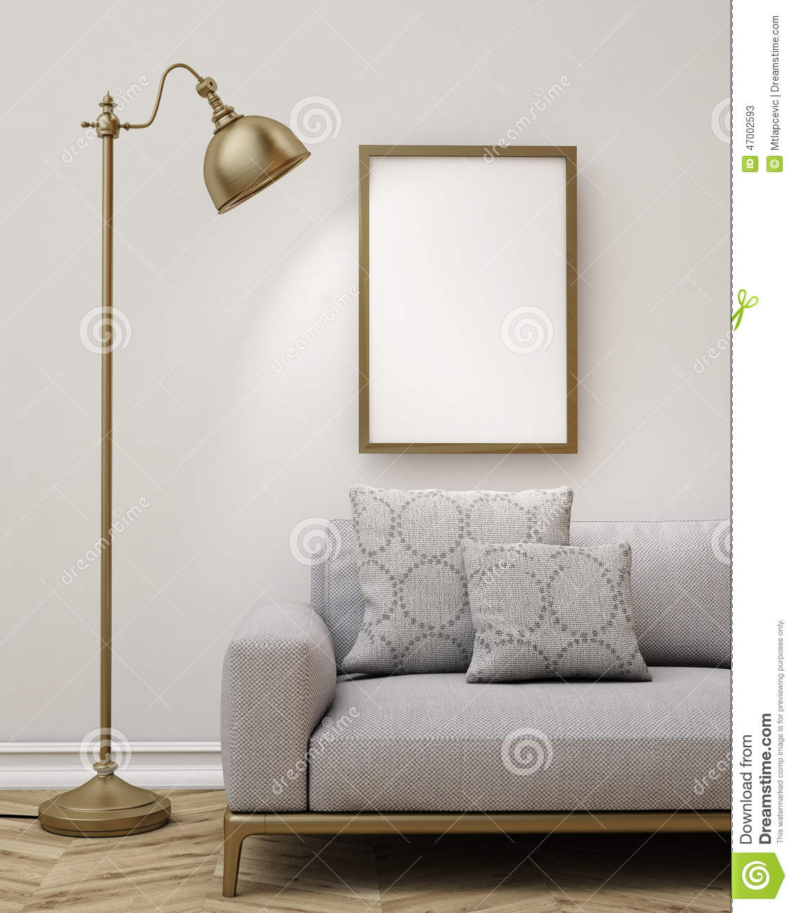 Living Room Background mock up blank poster on the wall of living room, background stock