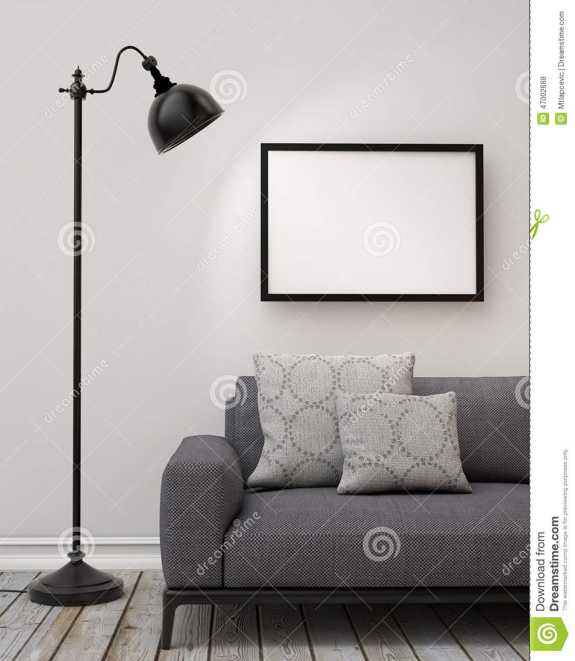 Royalty Free Illustration Download Mock Up Blank Poster On The Wall Of Living Room Background