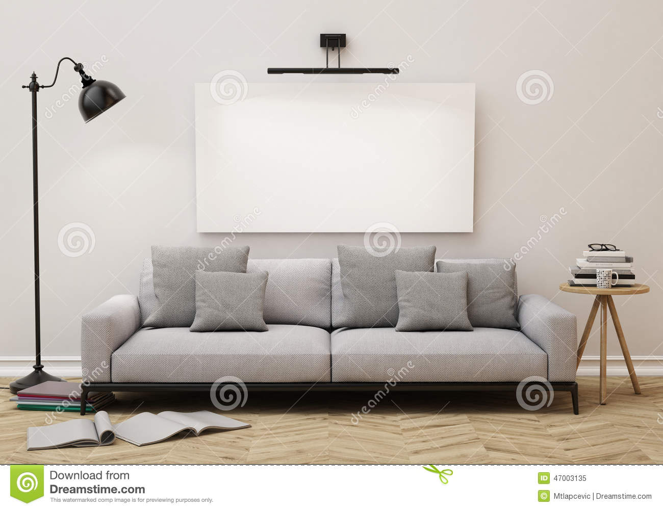mock up blank poster on the wall of living room background stock