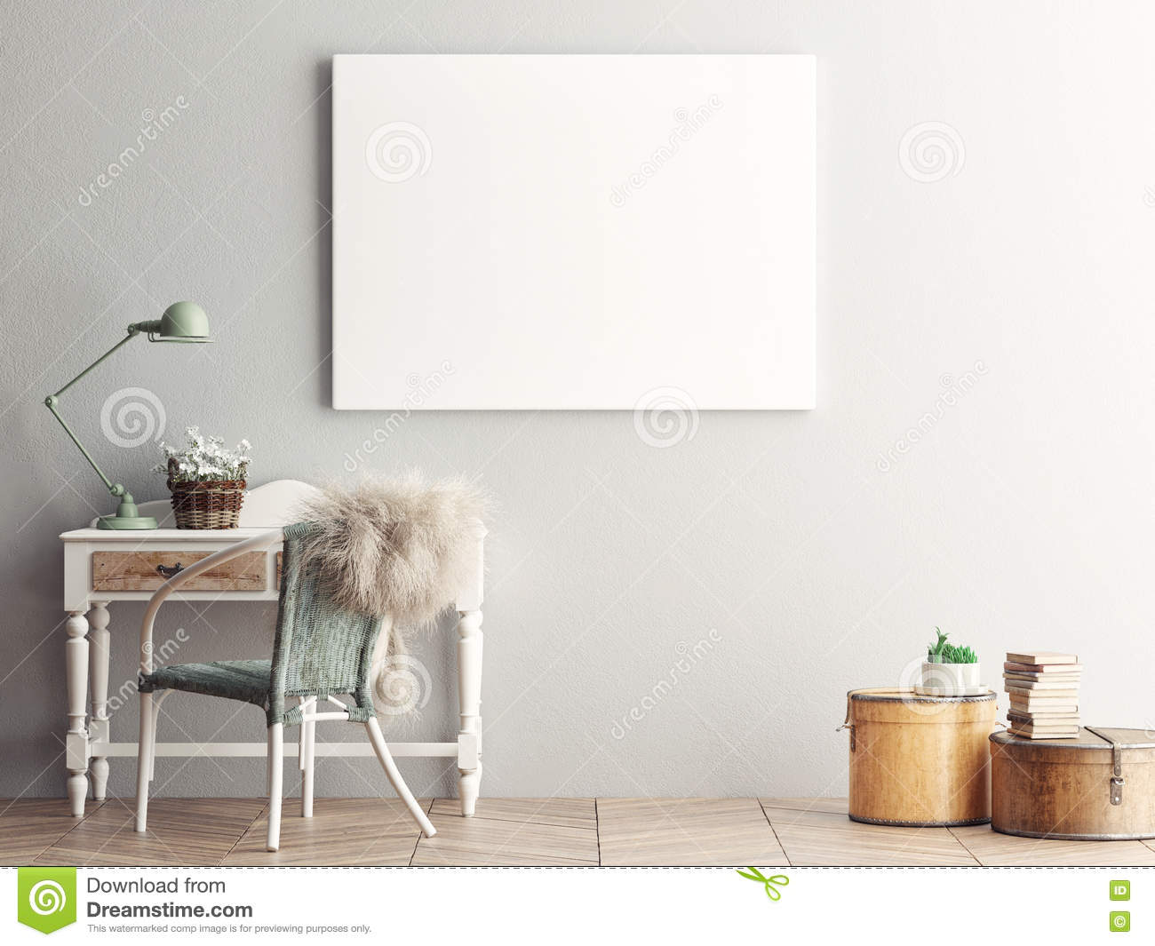 Mock Up Blank Poster On The Wall Of Living Room Stock Illustration