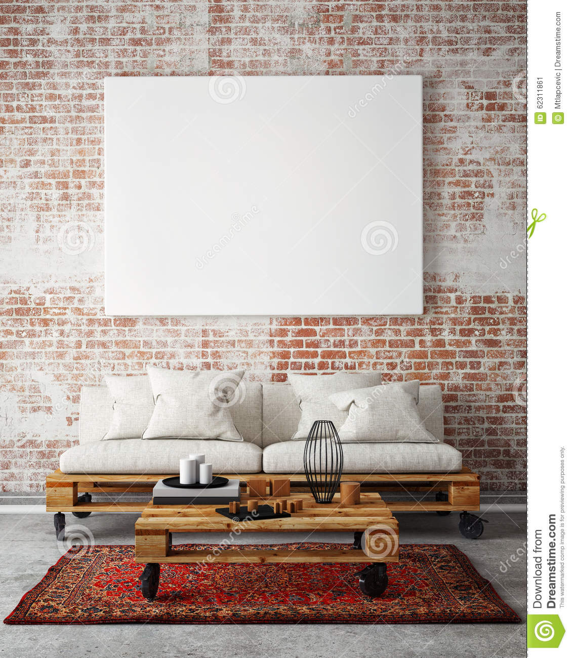 Mock Up Blank Poster On The Wall Of Livingroom, 3D Illustration ...