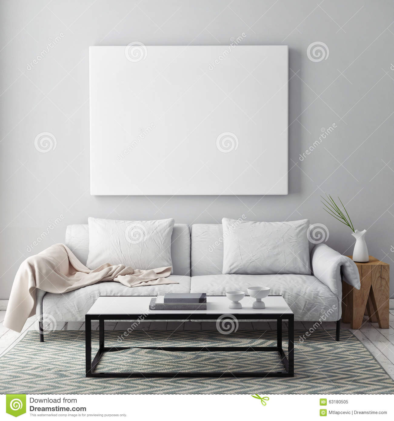 mock up blank poster on the wall of livingroom stock photo image