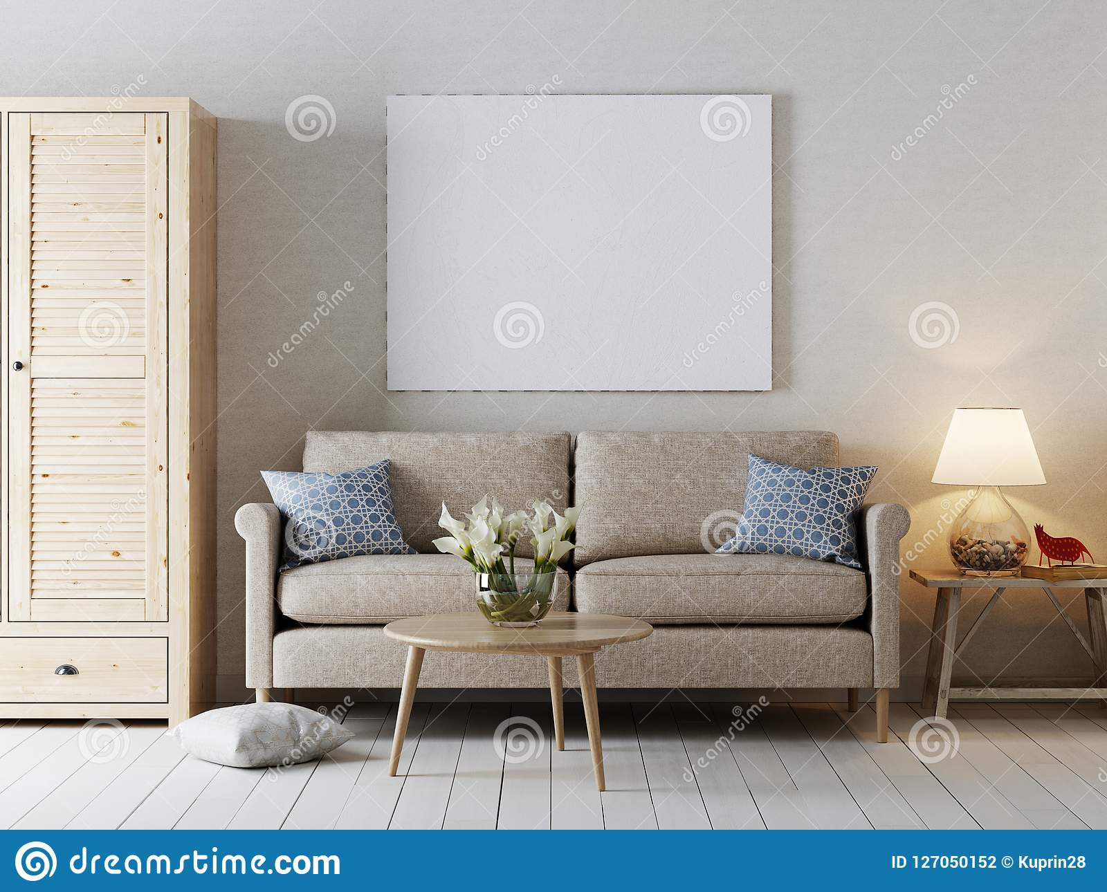 Side of modern interior with poster u stock photo peshkova