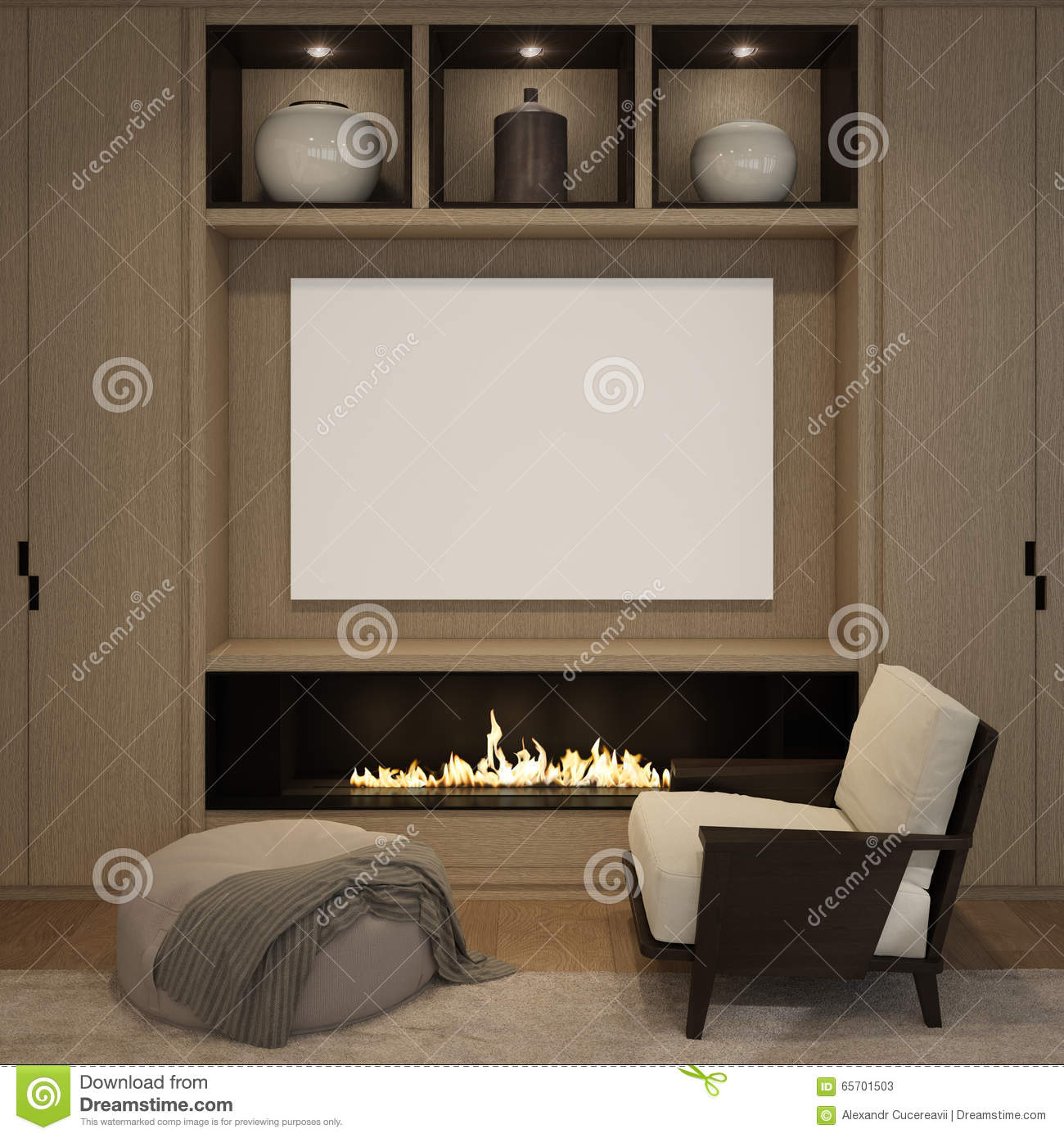 mock up blank poster at the wood wall fireplace of living room