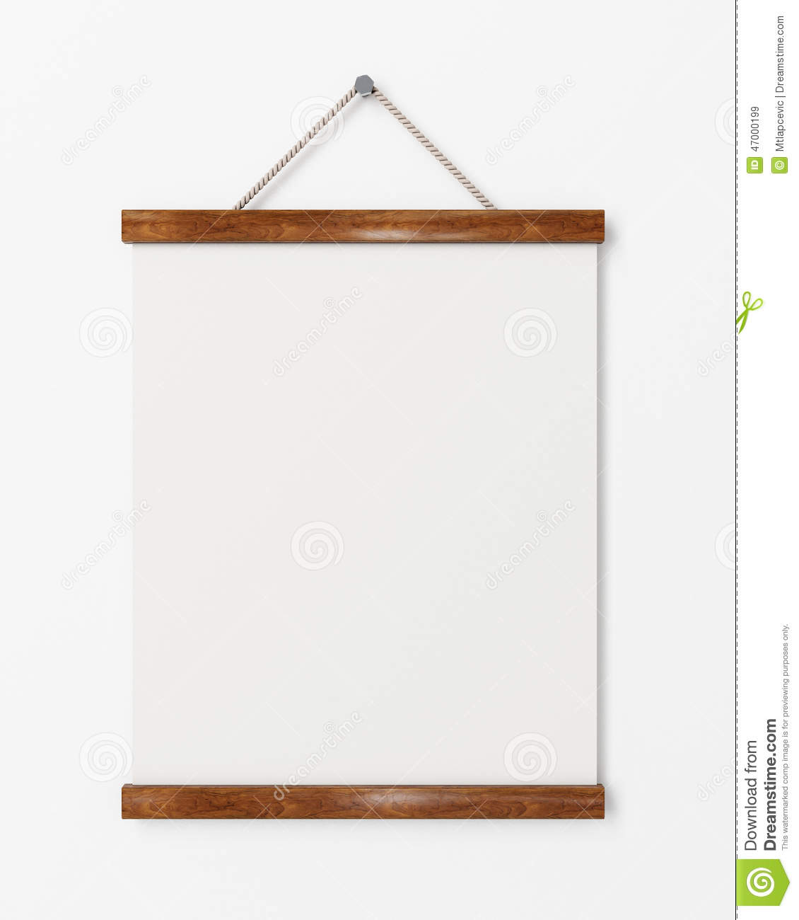 Mock up blank poster with wooden frame hanging on the for Template for hanging pictures