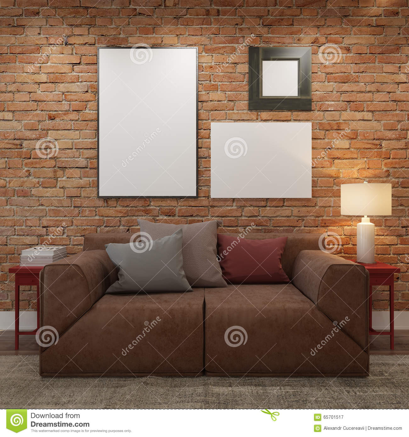 wall in living room mock up blank posters at the brick wall of living room 13663