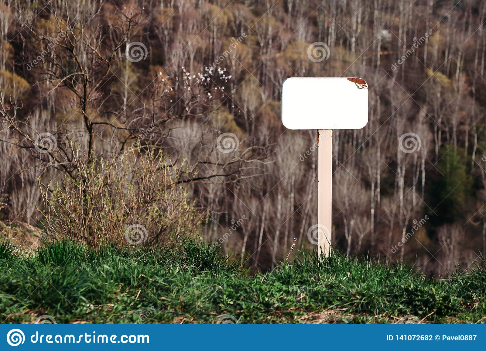 Mock up of the blank signs in Park on mountainside