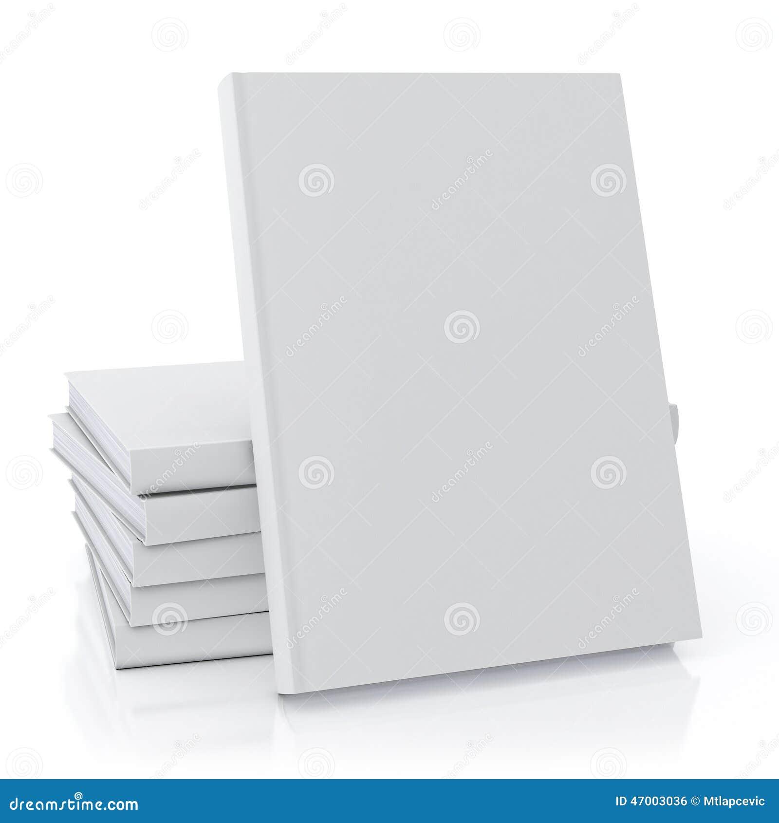 mock up blank white books  isolated on white background