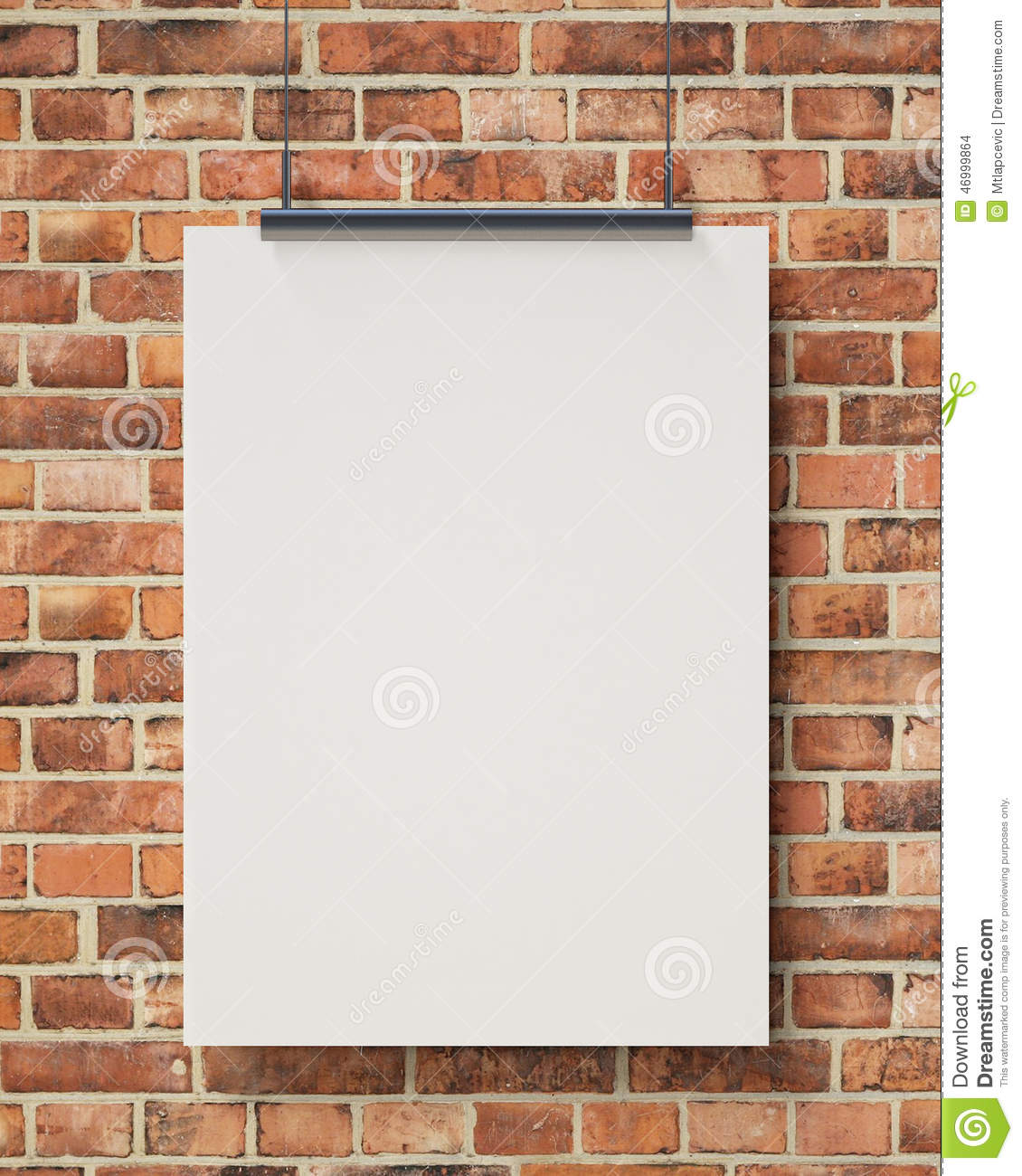 wall templates for hanging pictures - mock up blank white hanging poster on brick wall
