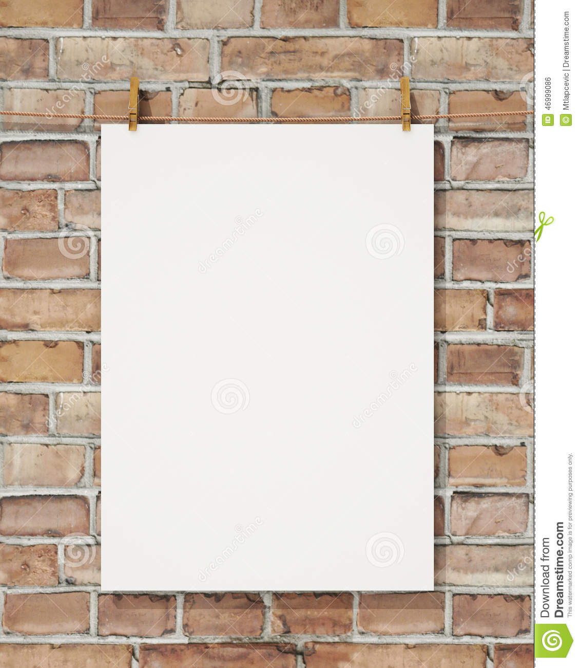 Mock up blank white hanging poster with clothespin and rope on brick wall, background
