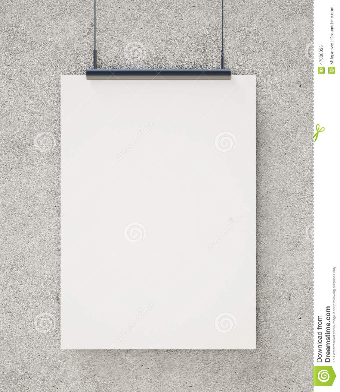 Mock up blank white hanging poster on concrete wall for Template for hanging pictures