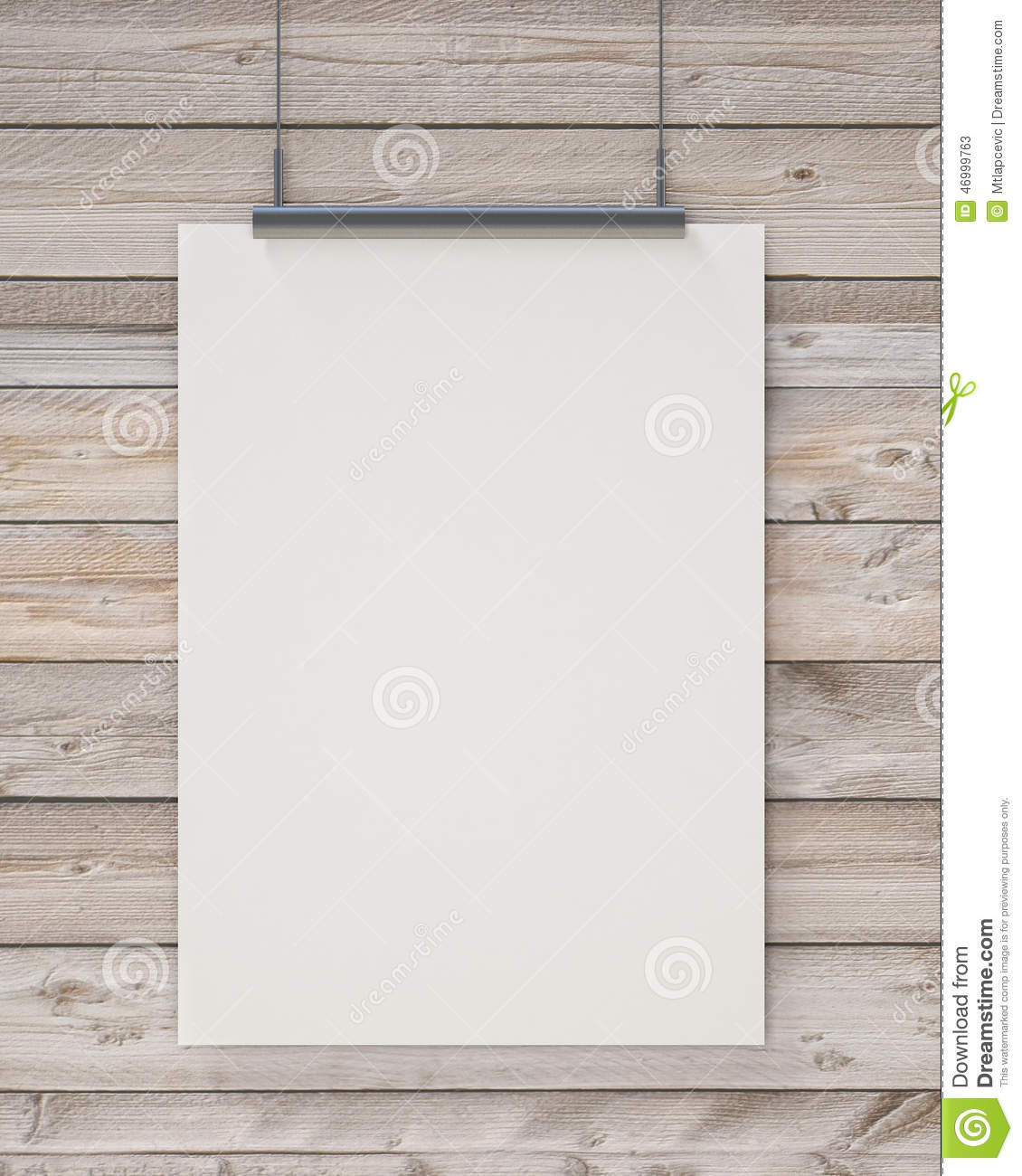 Mock up blank white hanging poster on horizontal wooden for Template for hanging pictures
