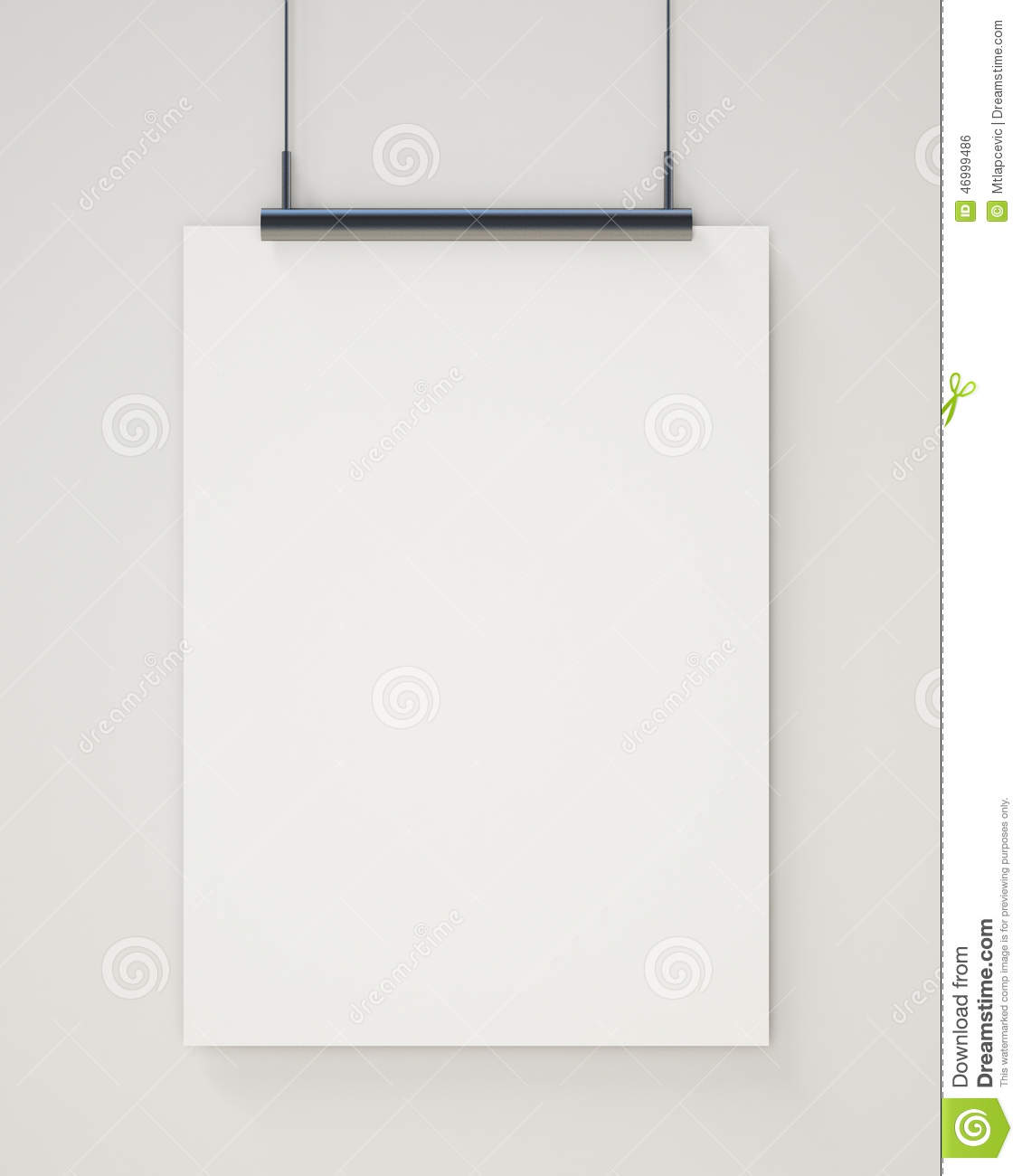 mock up blank white hanging poster on white wall background stock photo image of hanging. Black Bedroom Furniture Sets. Home Design Ideas
