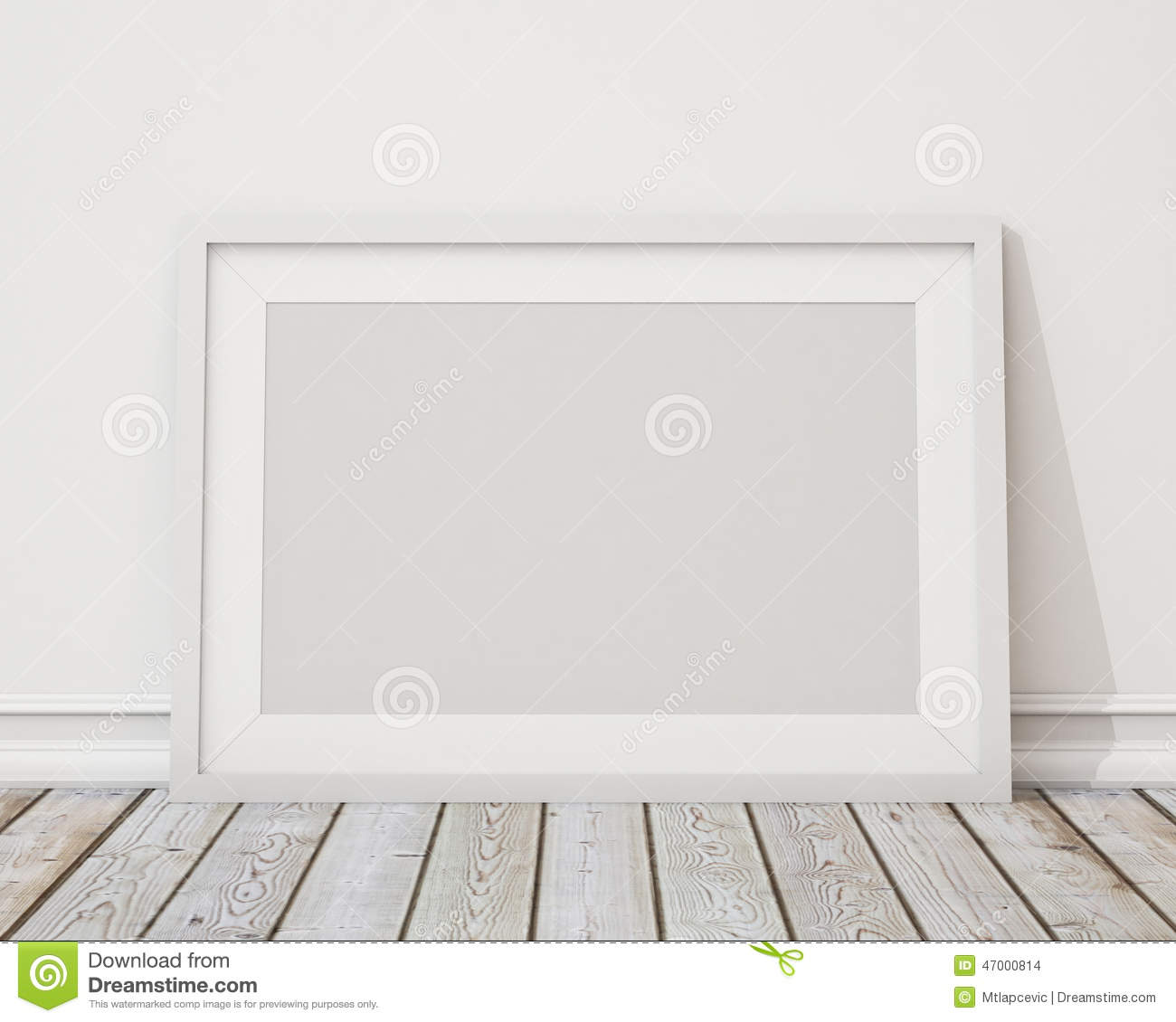 Mock Up Blank White Horizontal Picture Frame On The Wall And The ...