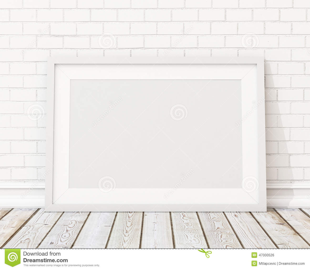 Wall Templates | Mock Up Blank White Horizontal Picture Frame On The White Brick Wall