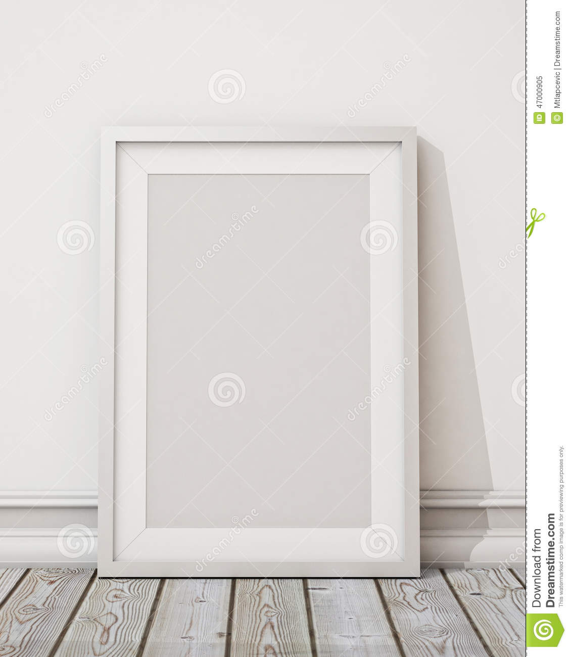 Mock Up Blank White Picture Frame On The White Wall And