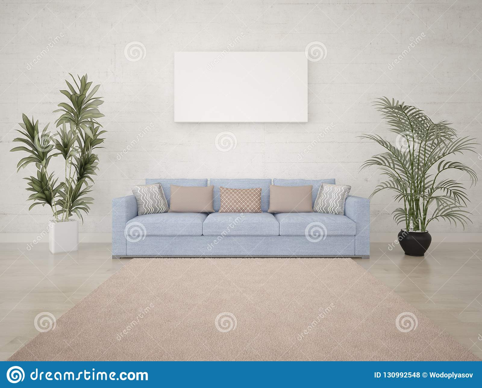 Mock Up Bright Living Room With An Aesthetic Quality Sofa Stock