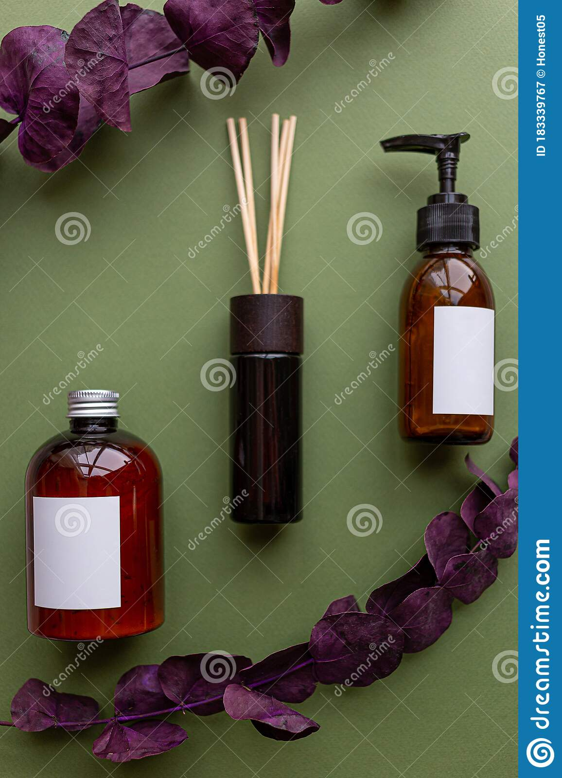 Natural Organic Spa Cosmetic Products Set With Dry Leaves Top View Herbal Skincare Beauty Products On Green Background Banner Stock Image Image Of Lotion Photo 183339767