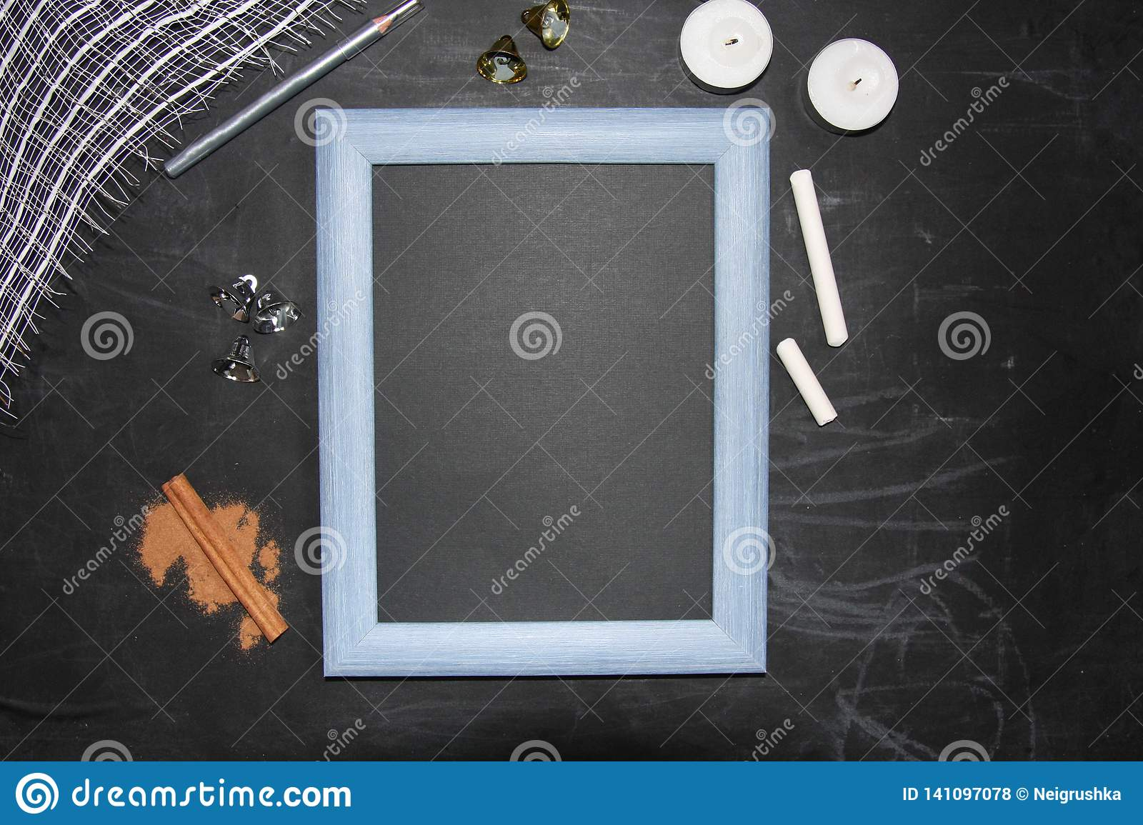 Mock up chalkboard with Merry Christmas symbol. Frame and place for your text