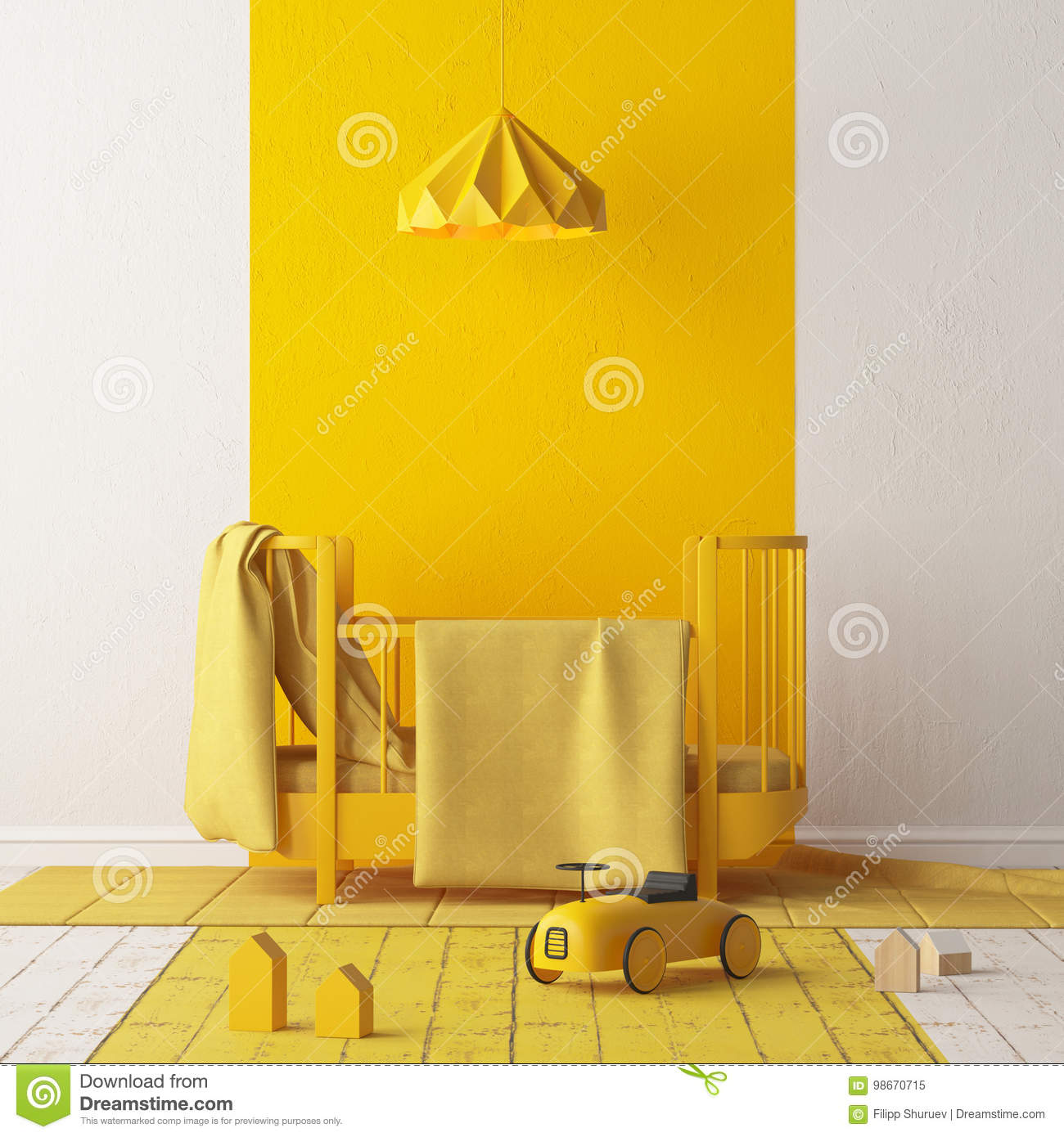 Mock Up Of A Children S Bedroom In A Locally Yellow Color