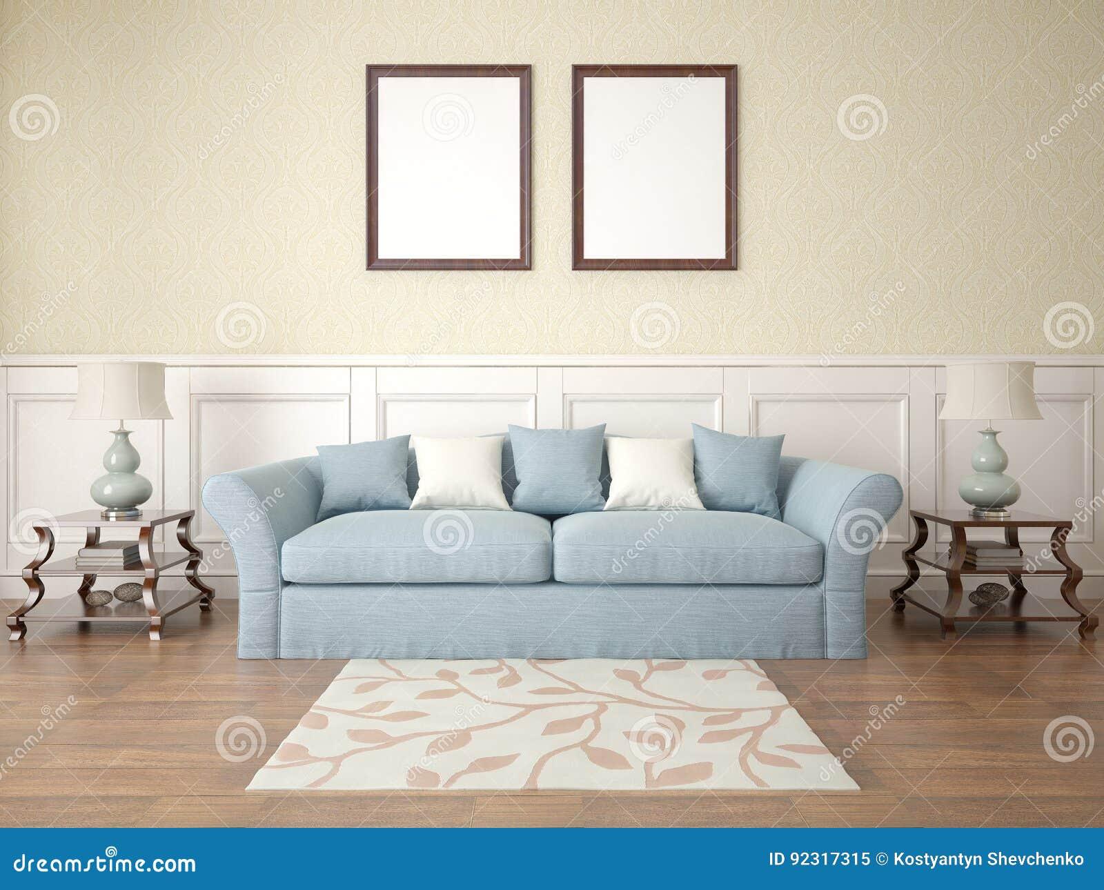 Mock Up A Classic Living Room Stock Illustration Illustration Of