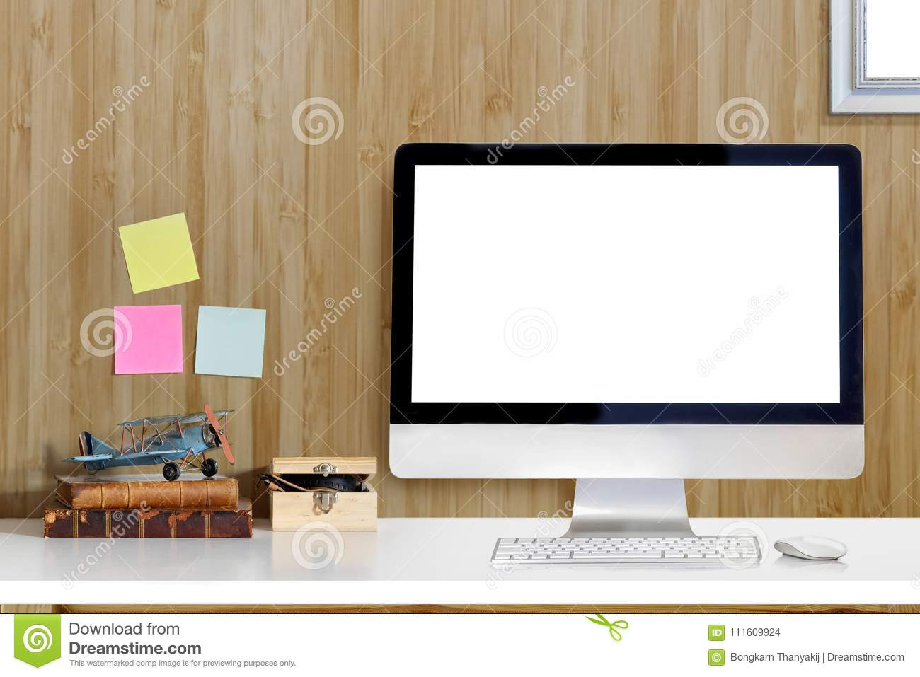 Attirant Download Workspace Mockup Desk With Desktop Computer And Office Supplies.  Stock Photo   Image Of