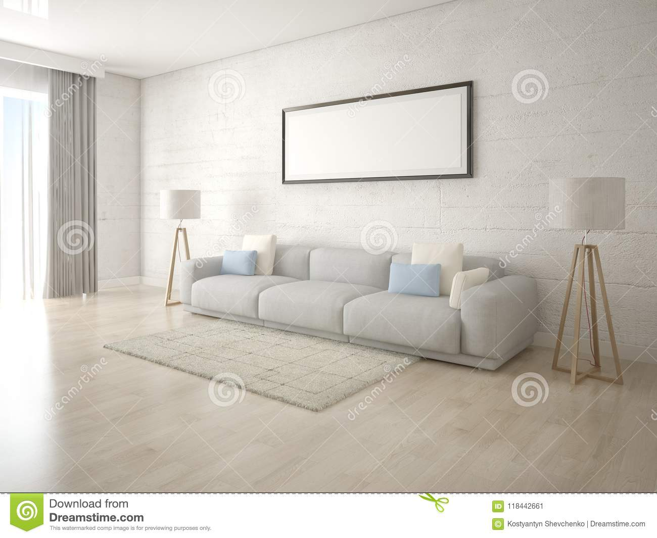 Mock Up A Creative Living Room With A Light Comfortable Sofa. Stock ...