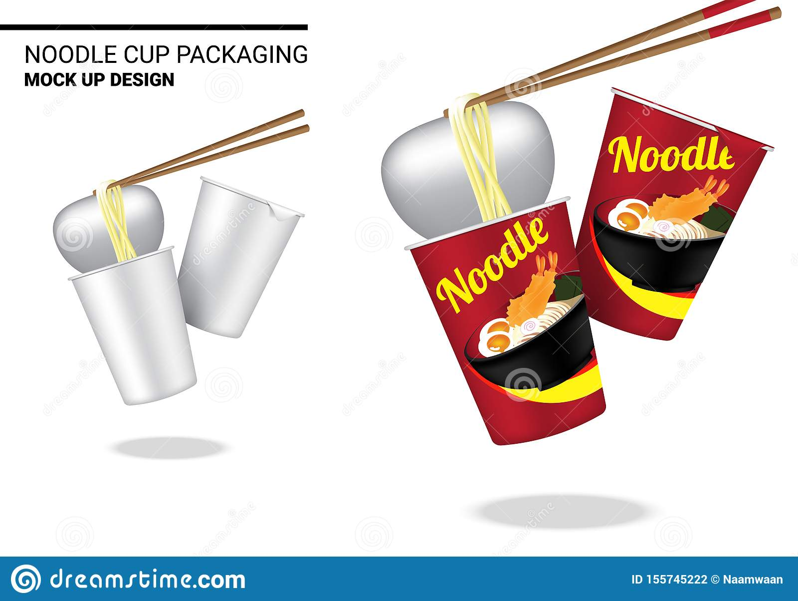 Mock Up 3D Realistic Design Hot Cup Noodle Packaging Product on White Background Illustration