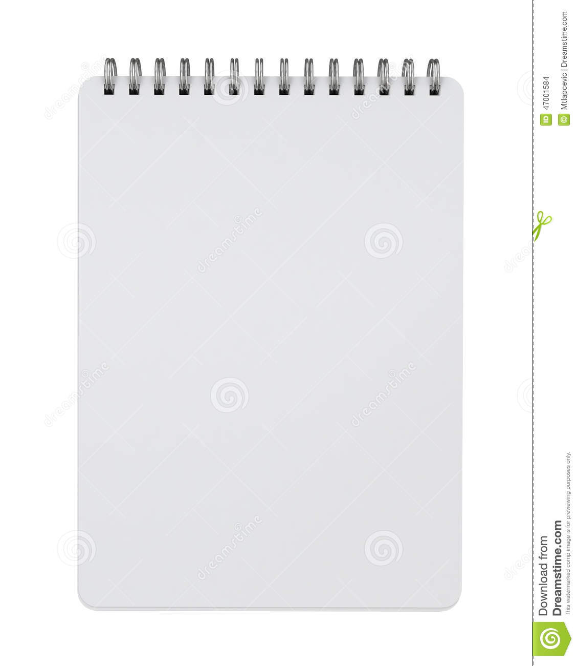 mock up empty spiral notebook lying isolated on white