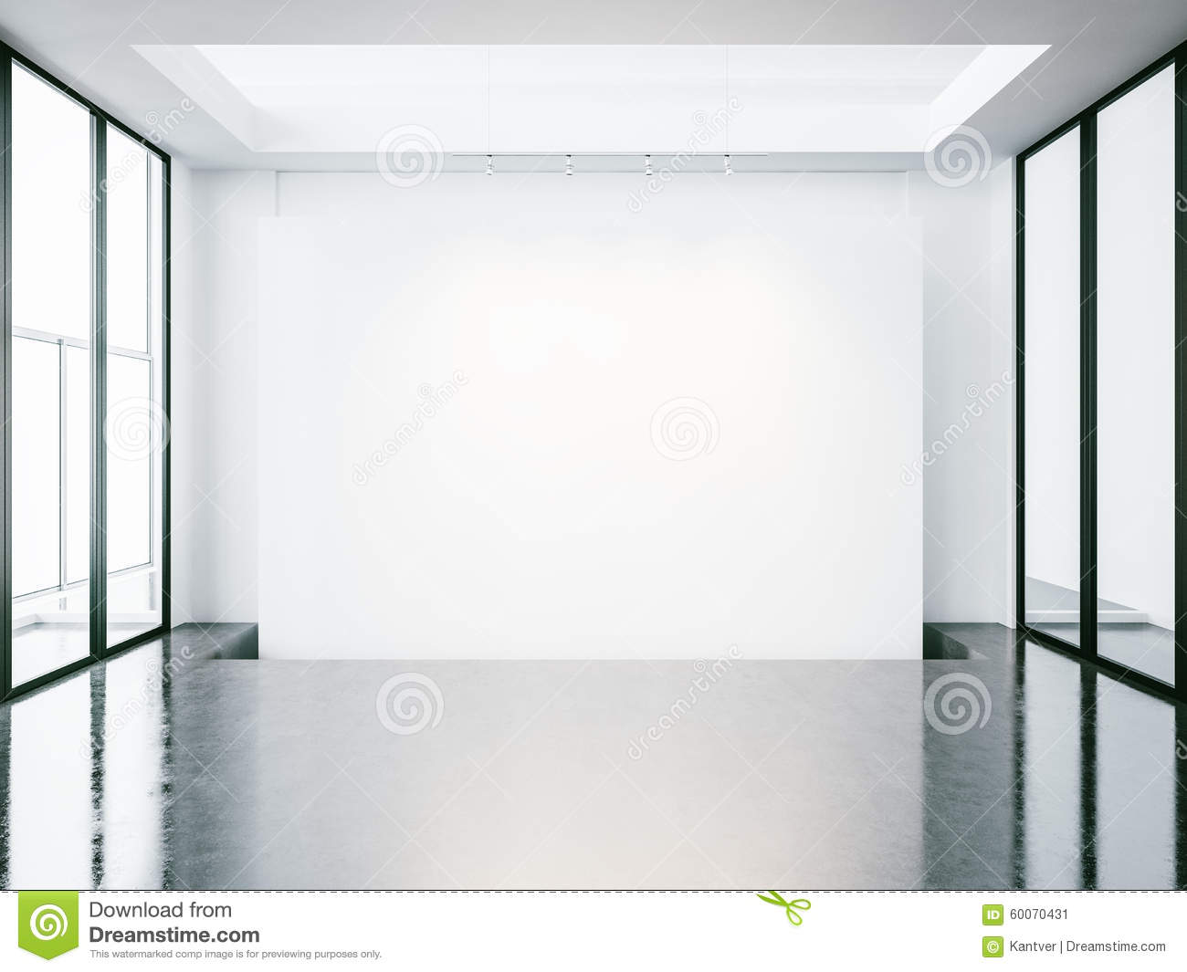 Mock Up Of Empty White Space Interior 3d Render Stock