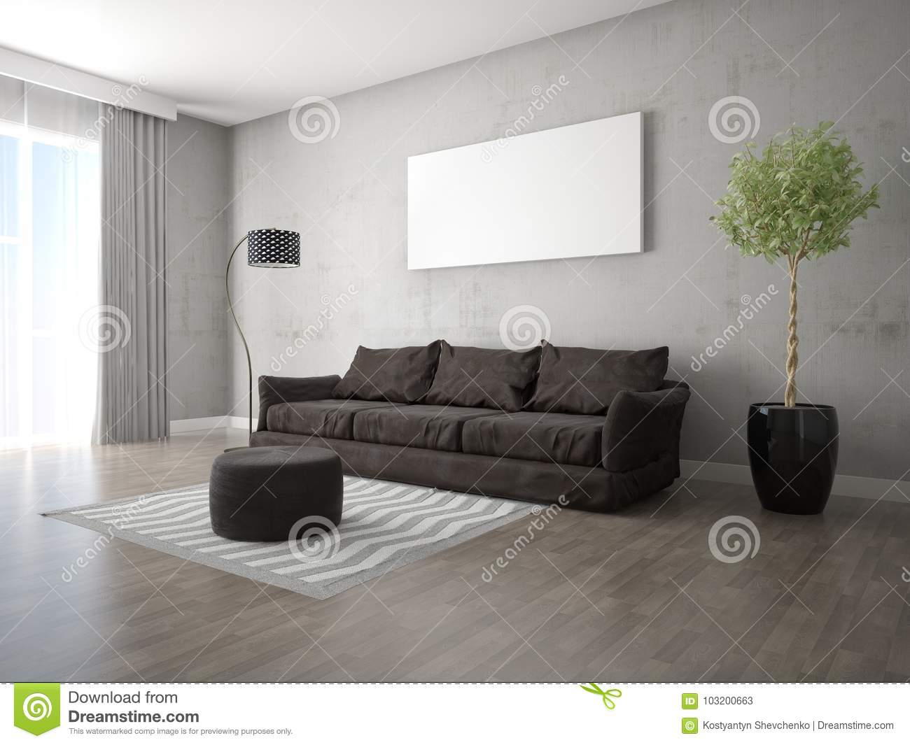 Mock Up A Fashionable Living Room With A Stylish Sofa. Stock ...