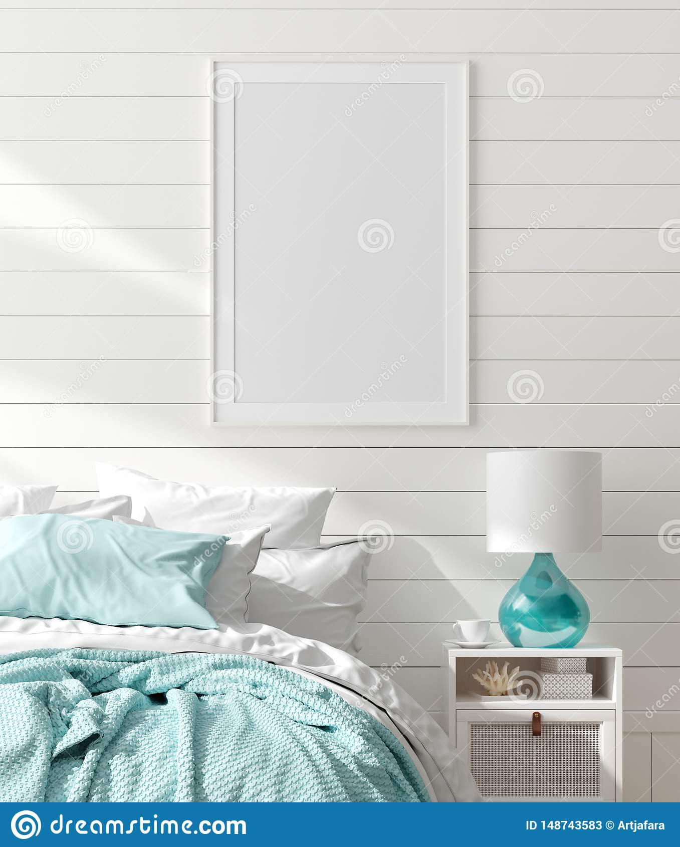 Mock up frame in bedroom interior, marine room with sea decor and furniture, Coastal style