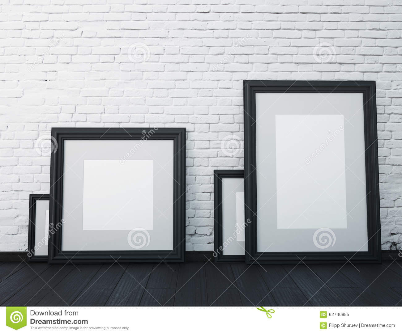 Mock Up Frame. Black Frames On The White Wall In The Interior. Stock ...