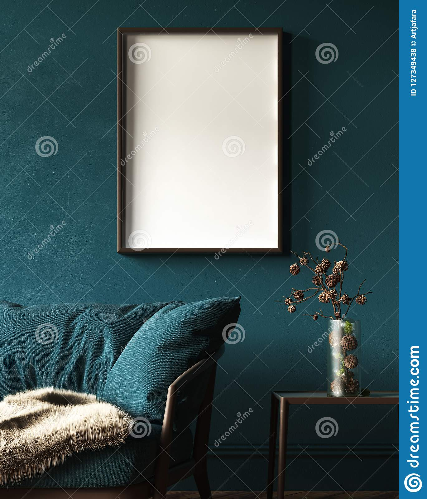 Mock-up frame in dark green home interior with sofa, fur, table and branch in vase