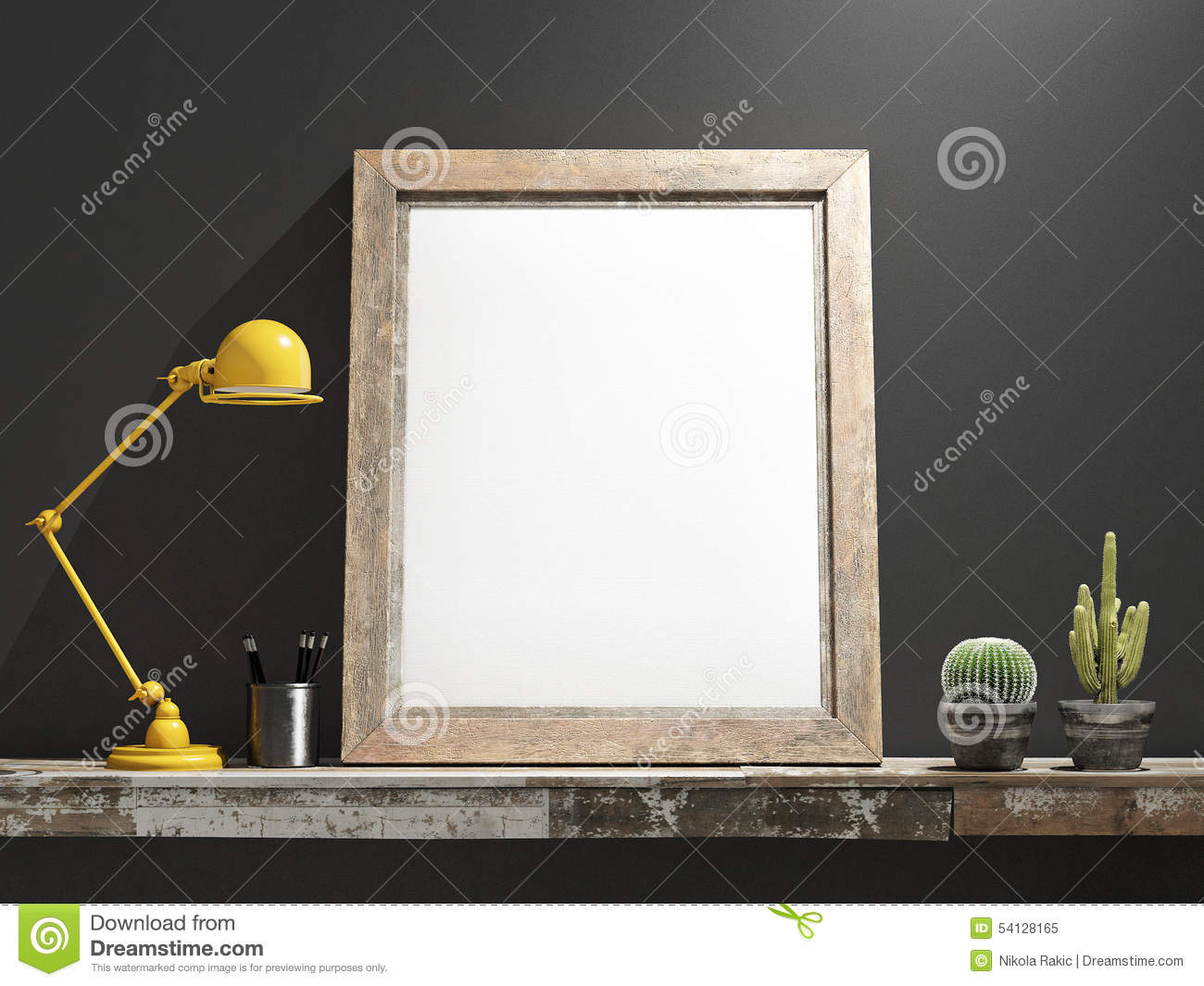 Mock Up Frame On Wooden Table Grey Wall Stock