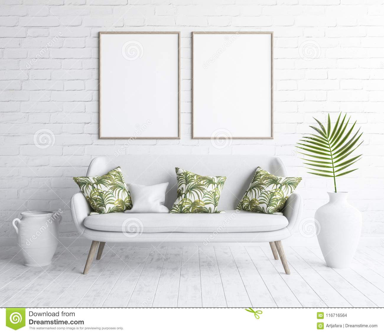 Mock Up Frames In Living Room Interior With White Sofa On White Brick Wall Scandinavian Style Stock Illustration Illustration Of Nordic Floor 116716564