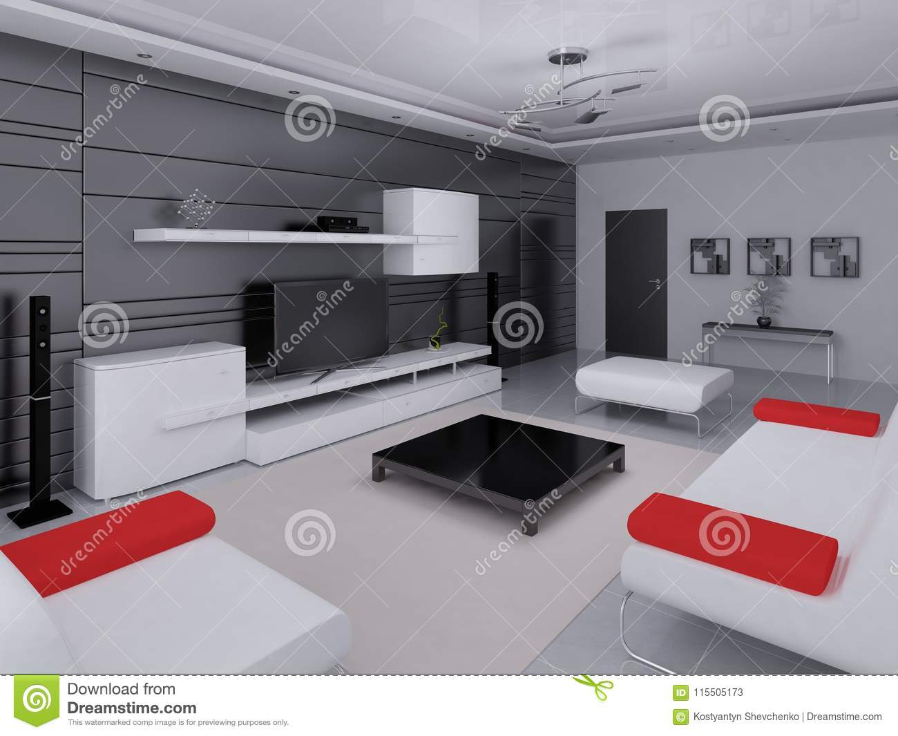 Mock up a hi tech living room with a modern interior