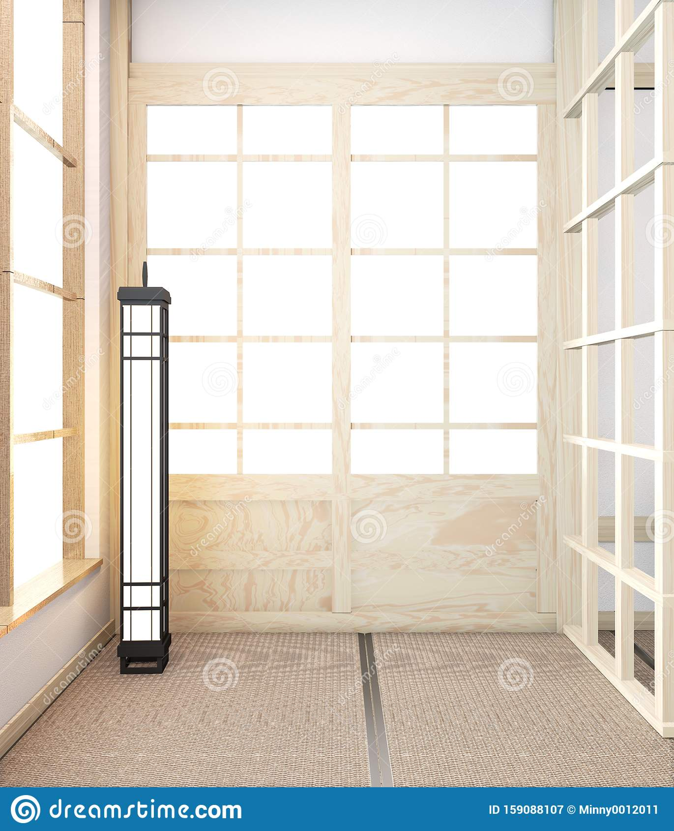 Idea of Mock up Empty room wooden japanese minimal original design and tatami mat floor.3D rendering