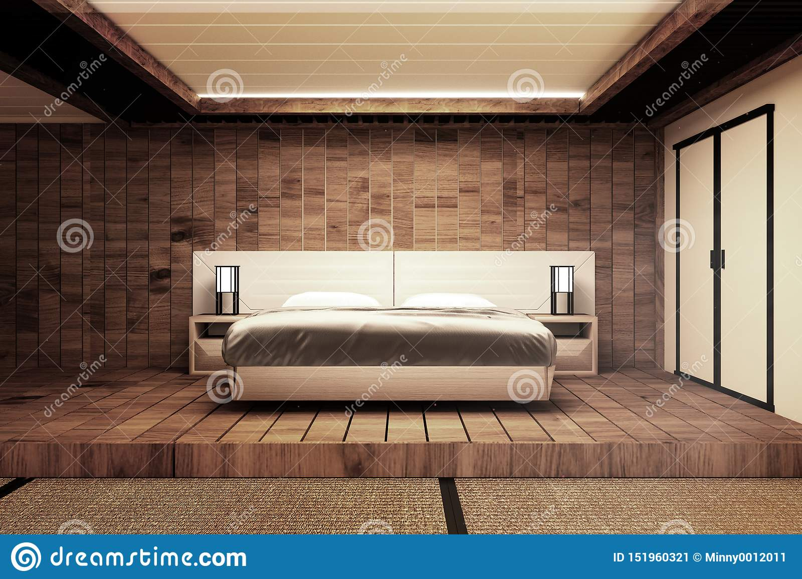Interior Luxury Modern Japanese Style Bedroom Mock Up Designing The Most Beautiful 3d Rendering Stock Illustration Illustration Of Hotelroom Design 151960321