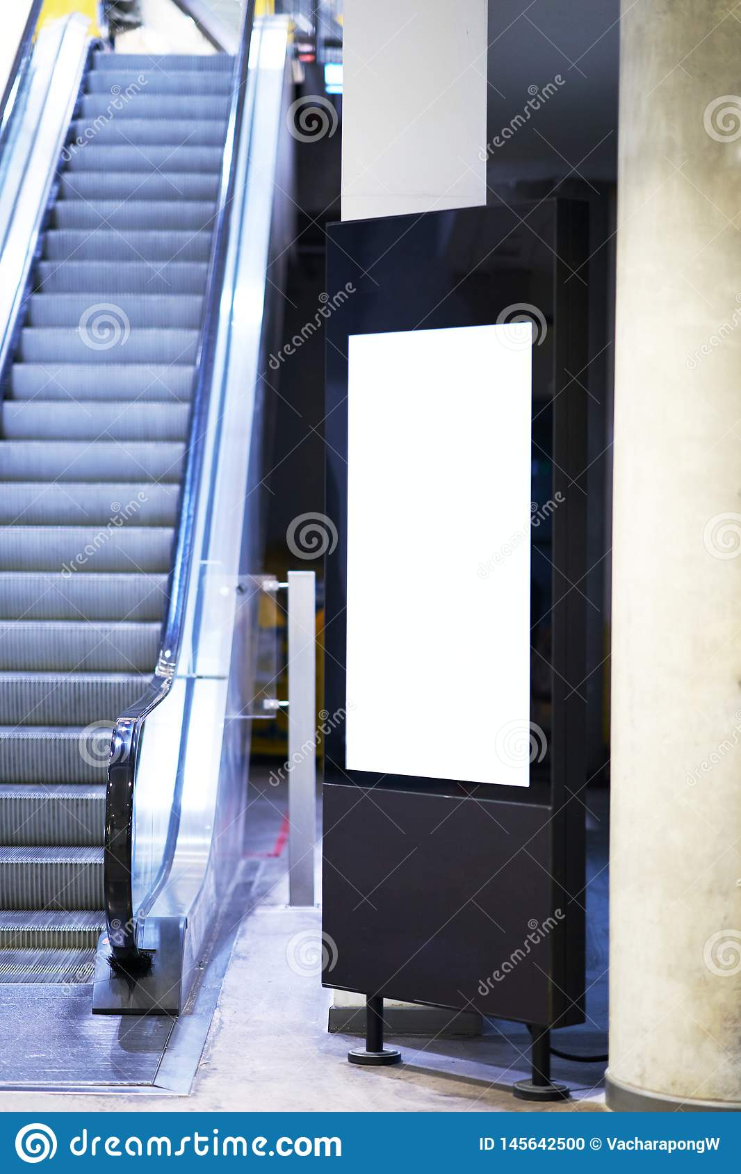 Mock Up Of Light Box Beside Escalator For Advertising Material