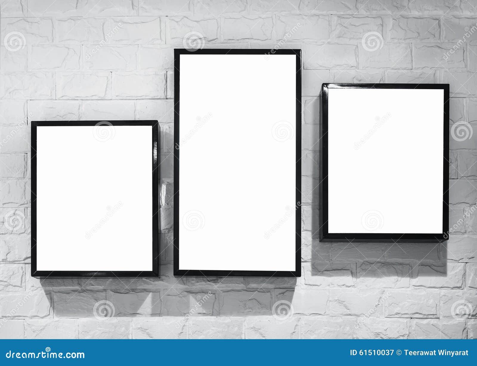 Mock Up Light Box Frame Deisgn On White Brick Wall Stock