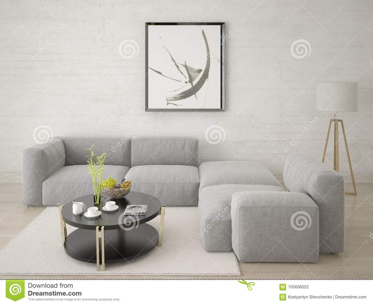 Mock Up The Living Room With A Comfortable Corner Sofa. Stock ...