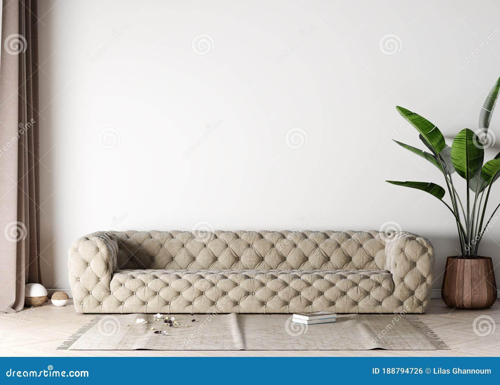 Mock Up Living Room In Modern Interior Background Beige Sofa In Scandinavian Style 3d Render 3d Illustration Stock Illustration Illustration Of Lounge Living 188794726