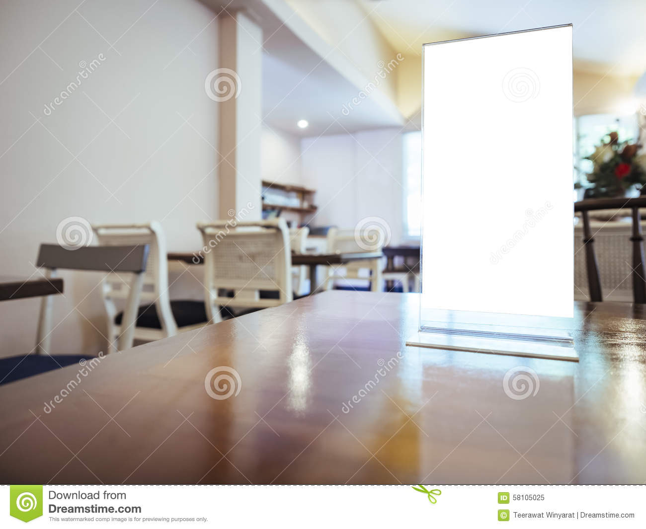 Mock up menu frame on table in restaurant cafe background