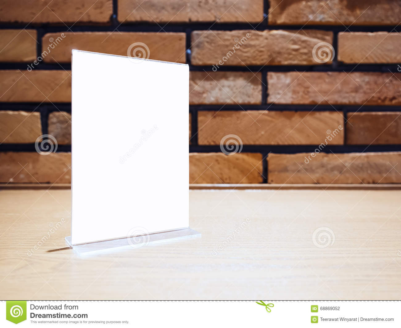 Mock Up Menu Frame Template On Table Bar Brick Wall Background Stock ...
