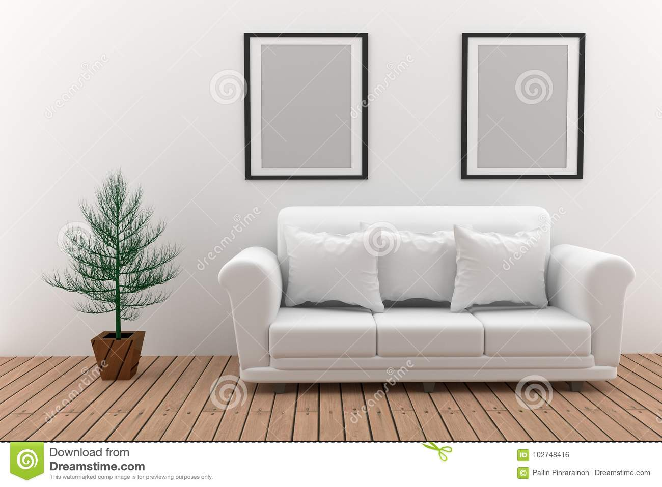 Wondrous Mock Up Minimalist White Sofa With Plant In 3D Rendering Unemploymentrelief Wooden Chair Designs For Living Room Unemploymentrelieforg